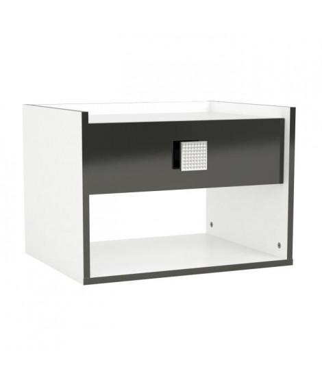 SHINE Chevet contemporain blanc et noir brillant - L 54 cm