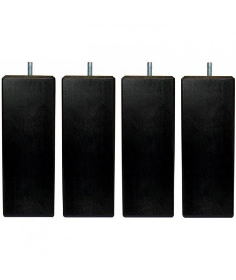 Jeu de pieds carrés L 5,4 cm x l 5,4 cm H 14,5 cm - Noir - Lot de 4