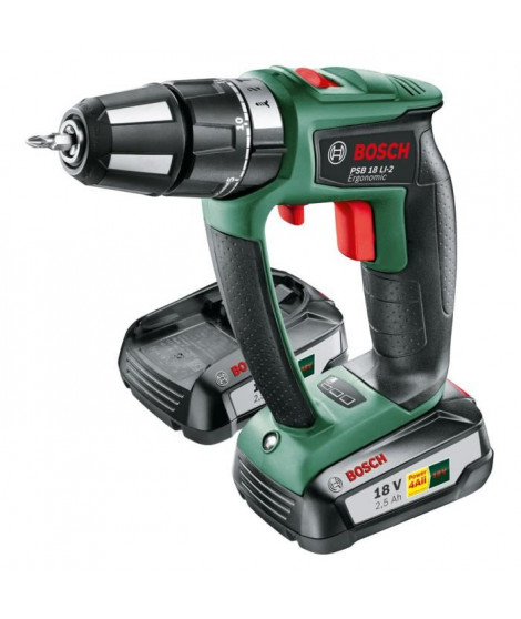 BOSCH Perceuse-visseuse a percussion sans fil PSB Ergo 18 LI-1 avec 2 batteries