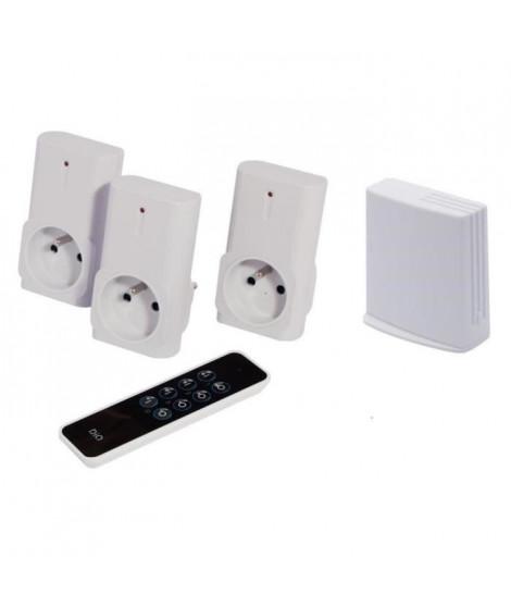 CHACON DIO Pack de 3 prises 1500 W avec télécommande 3 canaux et sa box domotique Litebox