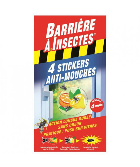 BARRIERE A INSECTES Stickers anti-mouches Vitres - 4 stickers