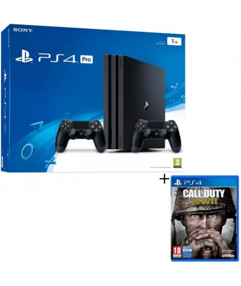PS4 Pro Noire 1 To + 2eme Manette + Call of Duty World War II