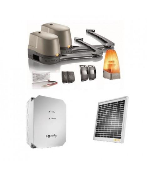 SOMFY Kit de motorisation de portail a bras Evolvia 400 pour portail battant avec son kit d'alimentation solaire