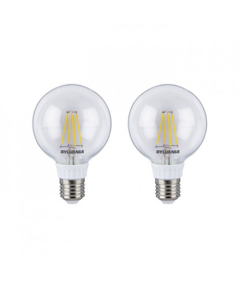 SYLVANIA Lot de 2 ampoules LED RETRO Filament Globe G80 E27 50W
