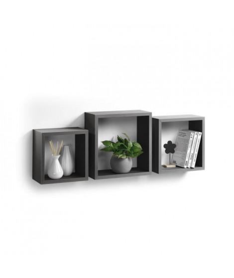Lot de 3 cubes gigognes 23-26,5-30 cm gris anthracite