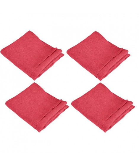 VENT DU SUD Lot de 4 serviettes de table SYMPHONIE 100% lin 50x50 cm cranberry