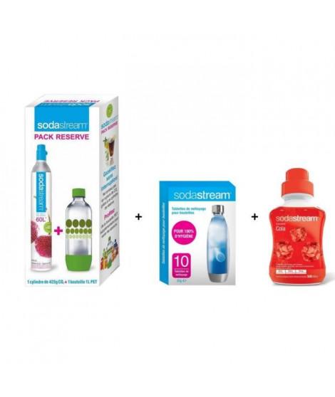 Pack SODASTREAM Accessoires : Lot Cylindre CO2 + 1 bouteille 1L + Lot 10 pastilles de nettoyage + Concentré Cola