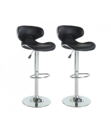 YORK Lot de 2 Tabourets de bar noir