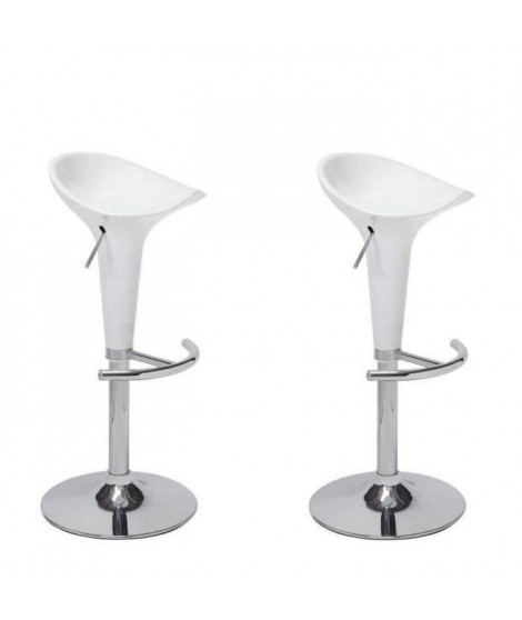 POP Lot de 2 tabourets de bar blancs