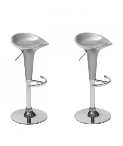 POP Lot de 2 tabourets de bar gris