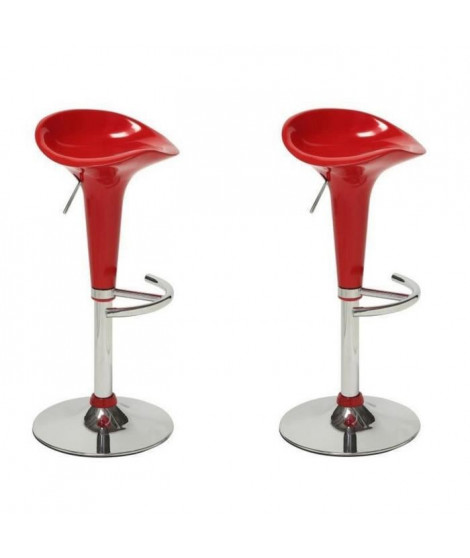 POP Lot de 2 tabourets de bar rouges
