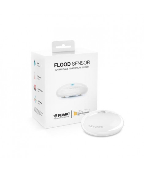 FIBARO Détecteur d'inondation bluetooth Flood Sensor compatible Apple HomeKit