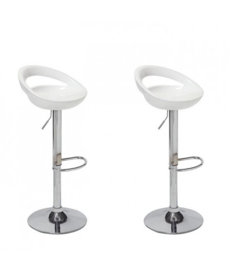 MOON Lot de 2 tabourets de bar blancs