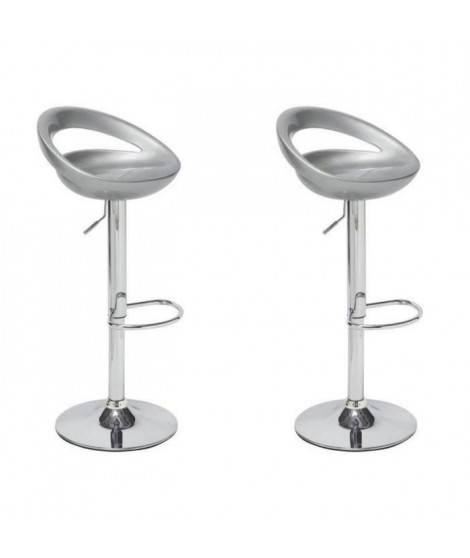 MOON Lot de 2 tabourets de bar gris