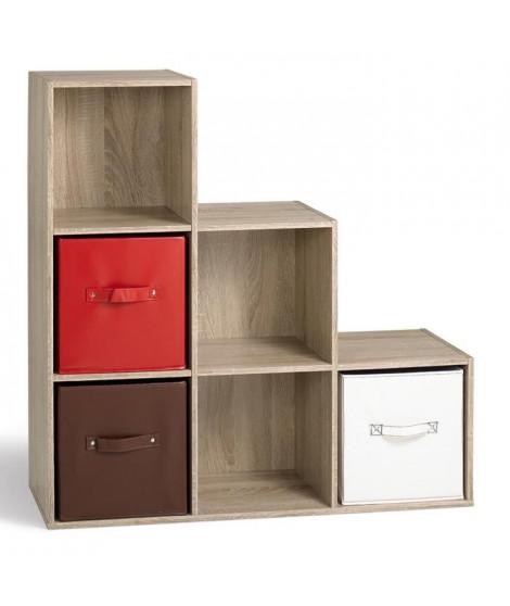 COMPO Cube escalier 6 cases coloris chene