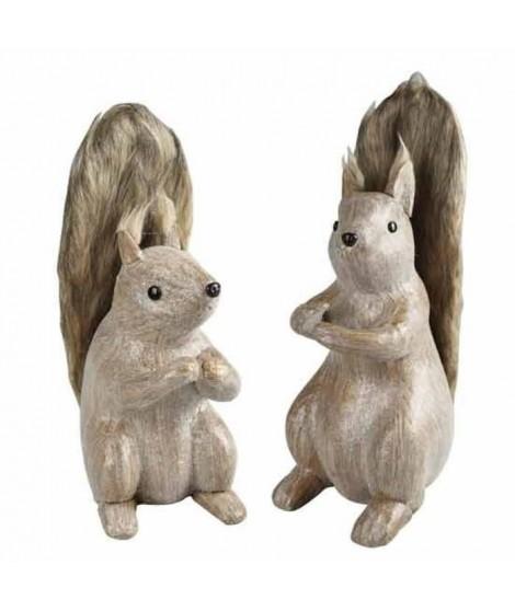 Écureuil bois assis 30 cm marron