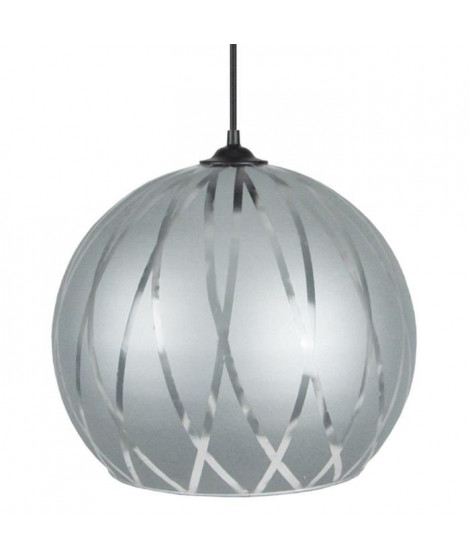 Suspension verre globe Bia 30 cm 20 W équivalent a 75 W gris