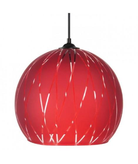 Suspension verre globe Bia 30 cm 20 W équivalent a 75 W rouge