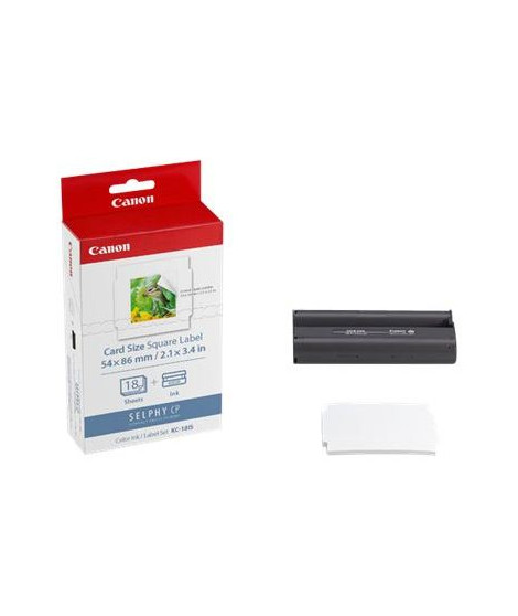 CANON KC-18IS Kit cassette ruban d'impression - 18 impressions - Format carré autocollant 5,4 × 5,4 cm
