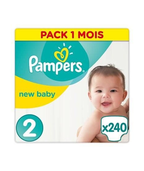 PAMPERS New Baby Taille 2, 3 a 6kg 240 couches