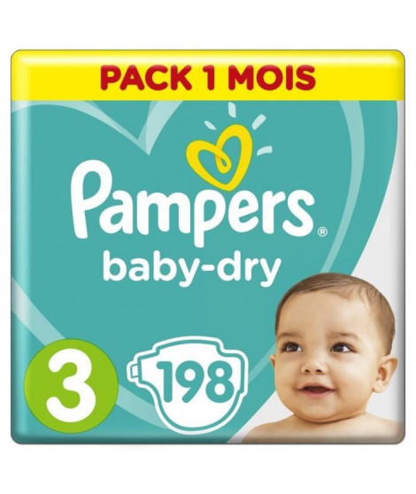 PAMPERS Baby Dry Taille 3, 4 a 9 kg 198 couches