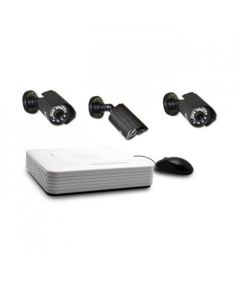 EXTEL Kit de surveillance avec 3 caméras et enregistreur vidéo Extel O'Out HD
