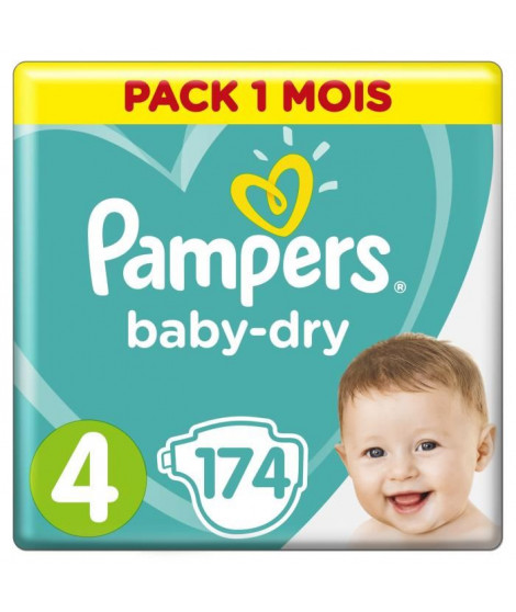 PAMPERS Baby Dry Taille 4, 7 a 18kg 174 couches