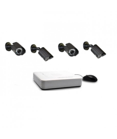 EXTEL Kit de surveillance avec 4 caméras et enregistreur vidéo Extel O'Out HD