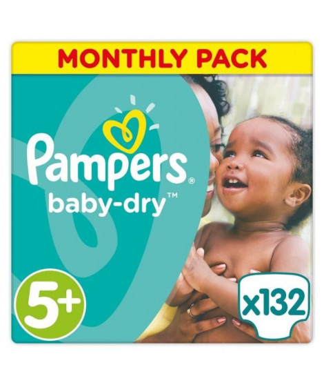PAMPERS Baby Dry Taille 5+ 13 a 27kg 132 couches
