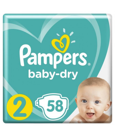 Pampers Baby-Dry Taille 2, 3-6kg, 58 couches