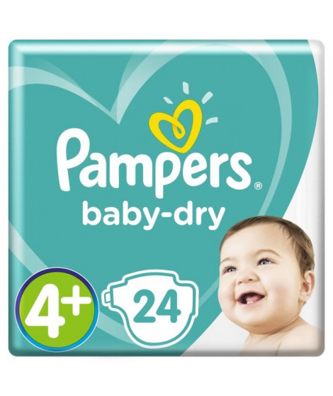 PAMPERS Baby-Dry Taille 4+ 9-18 kg x24 couches