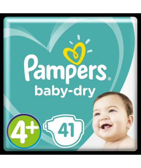PAMPERS Baby-Dry Taille 4+ 9-18 kg x41 couches