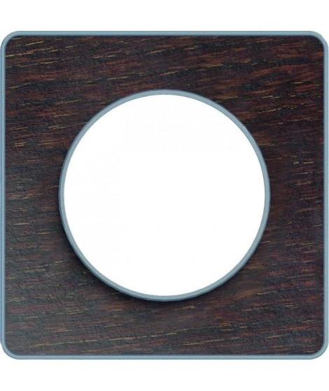 SCHNEIDER ELECTRIC Plaque 1 poste Odace Touch bois liseré aluminium