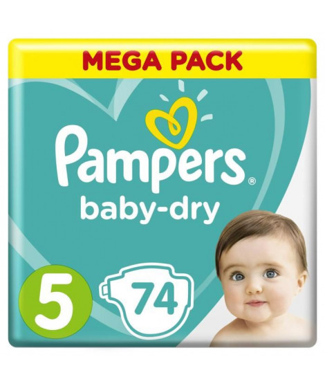 PAMPERS Baby-Dry Taille 5 11-23 kg x74 couches