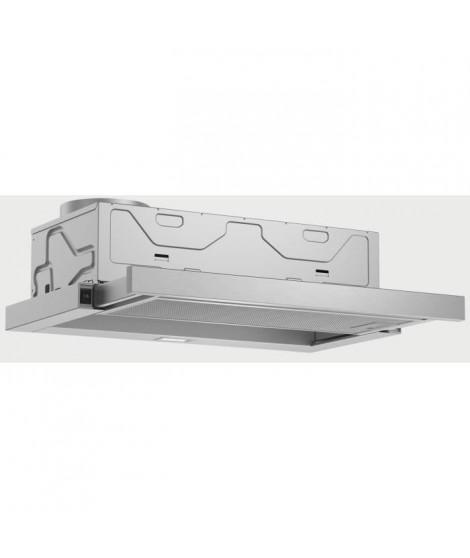 BOSCH DFM064W52-Hotte tiroir téléscopique-Evacuation / recyclage-400 m3 air / h-68 dB max-B-3 vitesses-L 60 cm-Inox