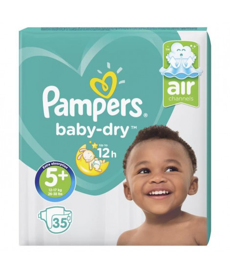 PAMPERS Baby-Dry Taille 5+ 13-25 kg x35 couches
