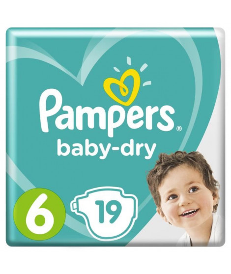 Pampers Baby-Dry Taille 6, 15+kg, 19 couches