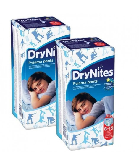 HUGGIES Lot de 2 Dry Nites Boy - 8-15 ans - 27-57kg x13
