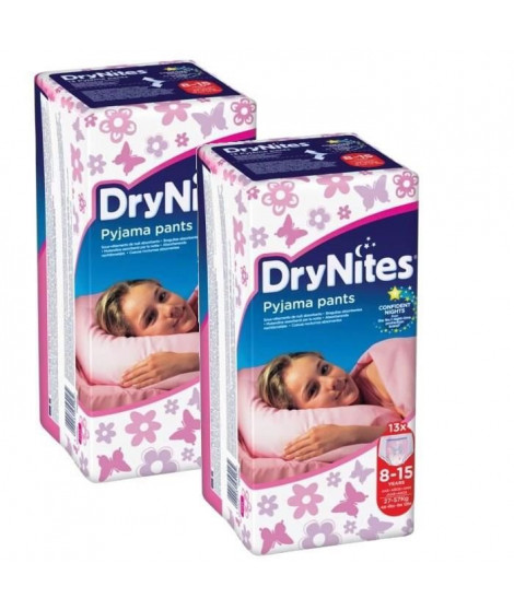 HUGGIES Lot de 2 Dry Nites Girl - 8-15 ans - 27-57kg x13