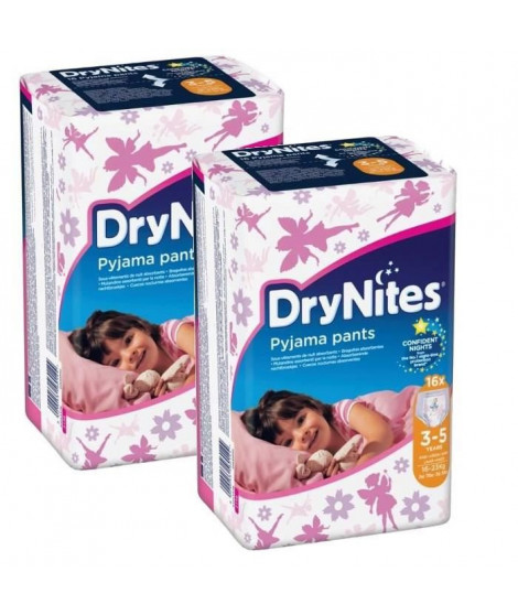 HUGGIES Lot de 2 Dry Nites Girl 3-5 ans - 16-23 kg x16
