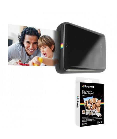 Pack POLAROID Recharge papier pour ZIP (x20p) Appareil photo instantané compact + POLAROID ZIP Noir Imprimante mobile iOS / A…