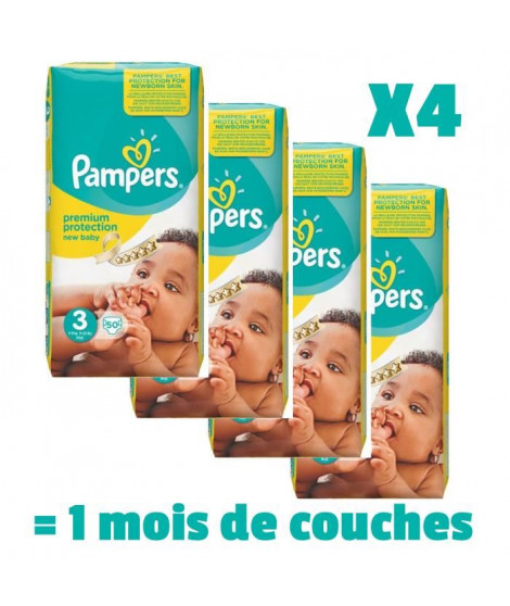 PAMPERS New Baby Taille 3, 4 a 9kg 200 couches