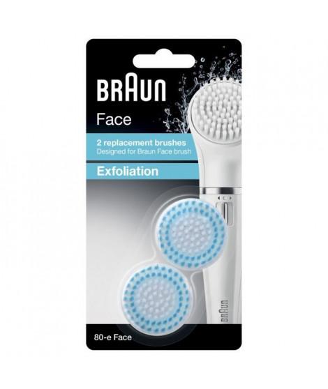Brosse nettoyante exfoliante - BRAUN Face 80-e pour Lot de 2 brosses de Remplacement