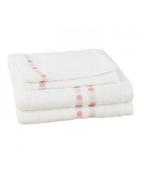 JULES CLARYSSE Lot de 2 serviettes + 2 gants de toilette Lotus - Blanc