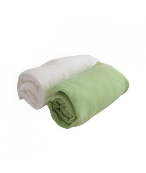 DOUX NID Lot de 2 draps housse Blanc/anis 60x120cm