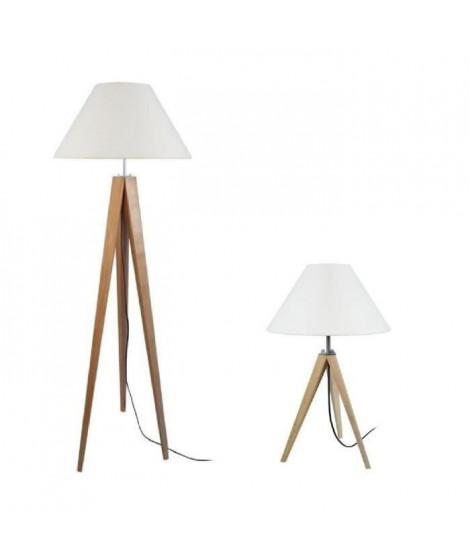 TOSEL Lampadaire + lampe a poser trépied bois massif naturel IDUN style scandinave - Abat-jour conique coton écru