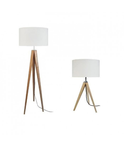 IDUN Lampadaire + lampe a poser trépied bois massif naturel IDUN style scandinave - Abat-jour cylindrique coton écru