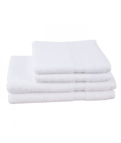 JULES CLARYSSE Lot de 2 serviettes+ 2 draps de bain Élégance - Blanc