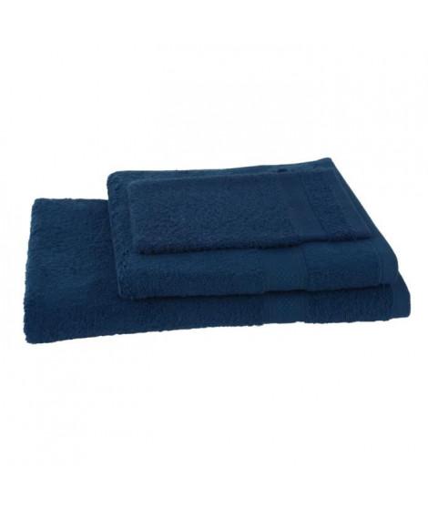 JULES CLARYSSE Lot de 1 serviette + 1 drap de bain + 1 gant de toilette Élégance - Marine