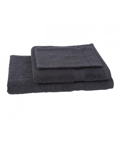 JULES CLARYSSE Lot de 1 serviette + 1 drap de bain + 1 gant de toilette Élégance - Anthracite